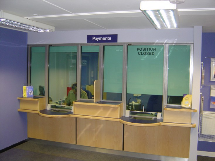 Rents and Rates Office, counter and screen