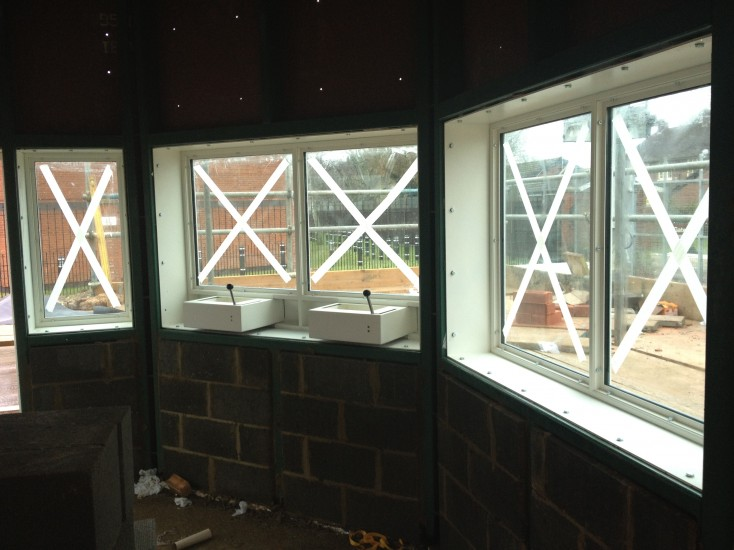 High Security Transfer Windows to Military Gatehouse - During Installation