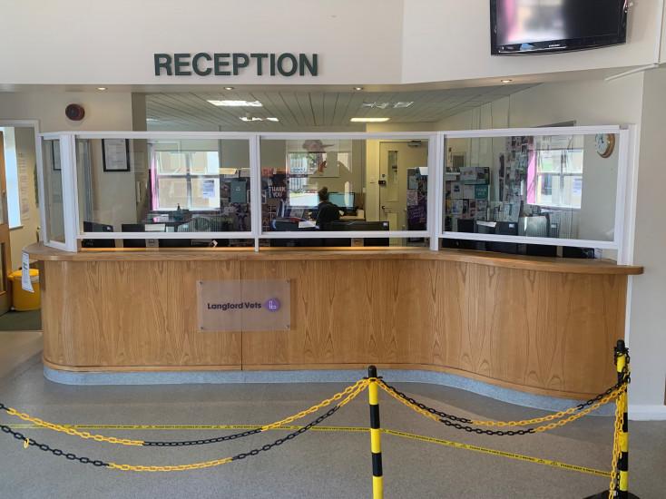 Bespoke Coronavirus COVID-19 Glass Screen - Veterinary Hospital - Side View