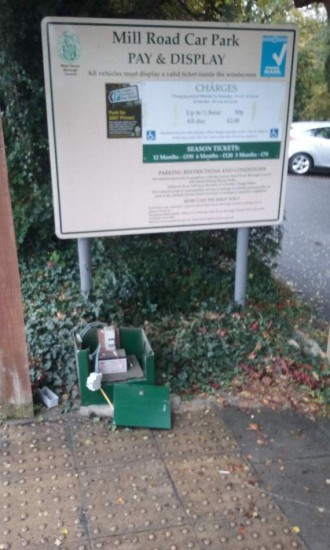 Damaged pay and display ticket machine