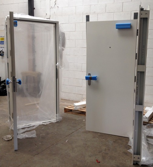 Steel Doors, complete with Abloy electric locks, ready for despatch